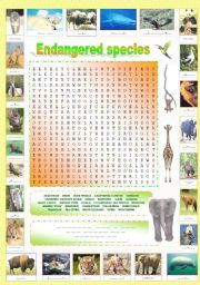 English Worksheet: Endangered species (Part 3/5): Original wordsearch containing a hidden message!!!  + Complete the names of the endangered species