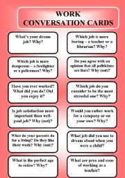 English Worksheet: Work - conversation cards (editable)