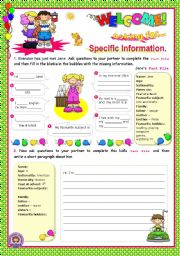 English Worksheet: Asking for specific information Series  (3)  -  Speaking + Writing for elementary students