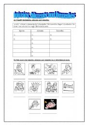 English Worksheet: Injuries, Ailments and Remedies