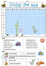 English Worksheet: Under the sea - Grid 2