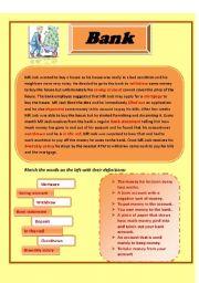 English Worksheet: Bank