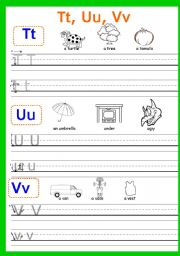 English Worksheets: Writing Tt-Zz Part 8 (the last one)