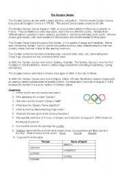 the olympic games reading comprehension. Black Bedroom Furniture Sets. Home Design Ideas