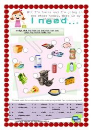 English Worksheet: Shopping List - quantities and containers