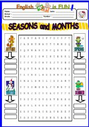 english worksheets seasons and months wordsearch. Black Bedroom Furniture Sets. Home Design Ideas