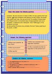 English Worksheet: Leonardo  da Vinci . Reading  comprehension.