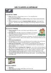 English Worksheet: Eartquakes 2: How to survive an Earthquake