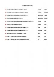 english teaching worksheets at the restaurant. Black Bedroom Furniture Sets. Home Design Ideas