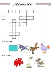English Worksheets: animal cross words