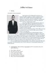 English Worksheets: Robbie Williams - Reading, Vocabulary, Writing, Song