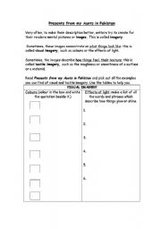 English worksheets: Visual Imagery in Present from my Aunt in Pakistan