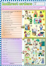 English Worksheets: Indirect orders + KEY