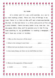 English Worksheets: My room: Reading COmprehension