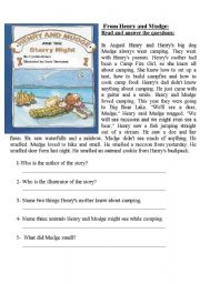 English Worksheets: From Henry and Mudge: