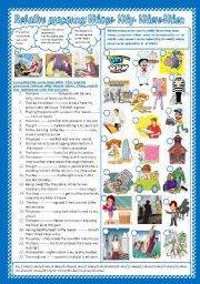 English Worksheets: Relative pronouns: whose-where-why-when