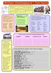 English Worksheets: William Shakespeare - fun facts (plus key)