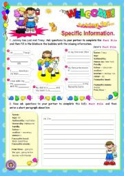 English Worksheets: Asking for specific information Series (4) - Speaking + Writing for elementary students