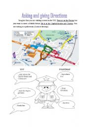 English Worksheet: Asking and giving directions - guided dialogue based on a map from a town