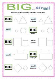English Worksheets: BIG and Small Shapes