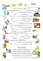 English Worksheets: 3 pages of Phonic Fun with th: worksheet, story and key (#3)