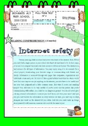 English Worksheet: Reading comprehension about internet