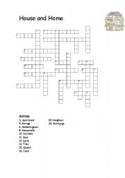 English Worksheet: House and Home half crossword vocabulary