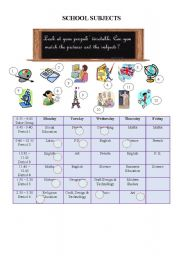 school subjects and timetable esl worksheet by reb77. Black Bedroom Furniture Sets. Home Design Ideas