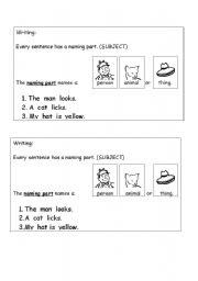 English Worksheets: Naming part of a Sentence