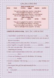 English Worksheet:  �a few� �few� �a little� or �little�