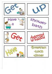 English Worksheet: Daily routines memory card game (set 1)