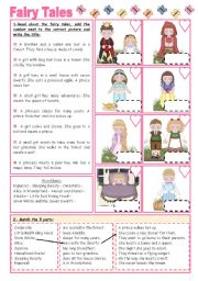 English Worksheet: Fairy Tales/Stories (6):  Fairy Tales Activities - 2 pages.