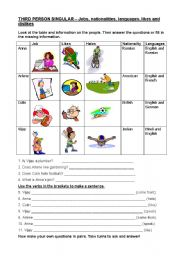 English Worksheet: Third person singular with jobs, nationalities, languages, likes and dislikes