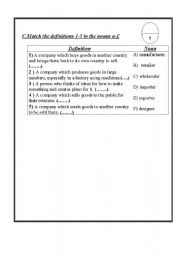 English Worksheets: some business definitions
