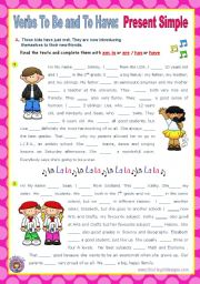 English Worksheet: Verbs To Be and To Have - Simple Present  for elementary students