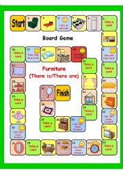 English Worksheet: FURNITURE (THERE IS/THERE ARE ) BOARD GAME