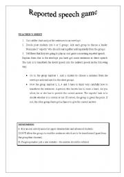 English Worksheet: REPORTED SPEECH ORAL GAME