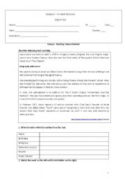 English Worksheets: Test - reading comprehension  Grammar Writing