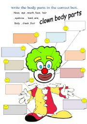English Worksheets:  clown body parts