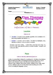Printables Five Themes Of Geography Worksheet english worksheets the five themes of geography worksheet geography