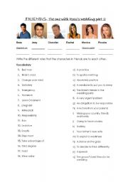 English Worksheet: Friends Episode Series 4 The one with Ross� wedding Part 2