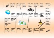 English Worksheet: Easy board game to train months, dates, days of week, holidays, ordinal and cardinal numbers
