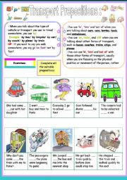 English Worksheets: transport prepositions