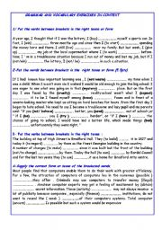GRAMMAR AND VOCABULARY EXERCISES IN CONTEXT