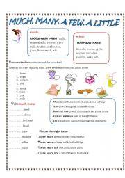 English Worksheet: much/many, little/few