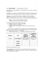 English Worksheets: Characterization