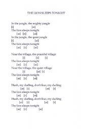 English Worksheets: The lion sleeps tonight