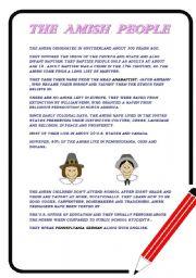 English Worksheet: The Amish way of life