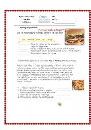 English Worksheets: How to make a Burger?