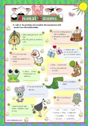 Animal Idioms used every day  (3)  for elementary/ lower intermediate students